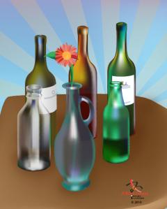 Gradient Mesh Bottles