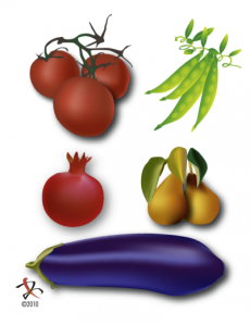 Collection of fruits, vegetables, pea pods